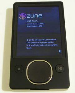 About screen of the Zune 80