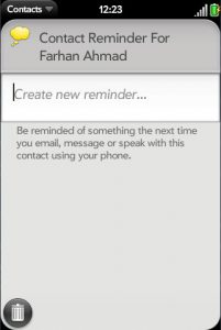 webOS' contact reminder feature