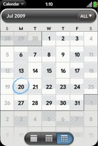 webOS's calendar application in month view.  Some people don't think this is very good view, but to me this gives a good idea of days and times I have open.