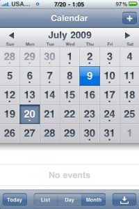 iPhone's relative simple calendar month view