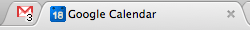 Gmail and Google Calendar conveying useful information through their favicon