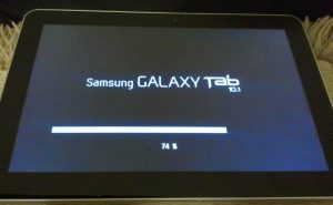 Tablet showing an update being applied