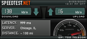 Speed test showing the slow speeds
