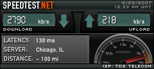 Speed test showing the actual expected speeds