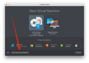 Click on the Add Existing Virtual Machine button.